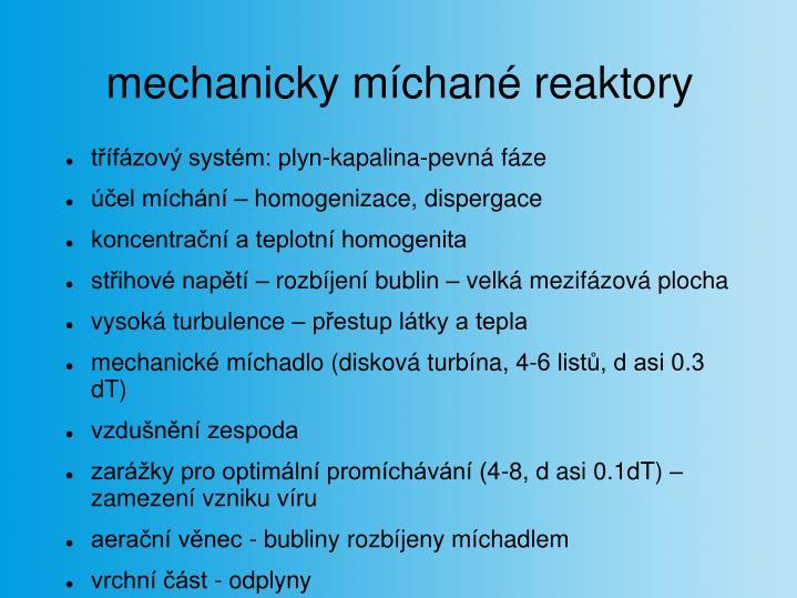 mechanicky míchané reaktory