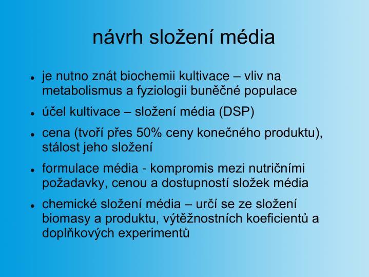 návrh složení média