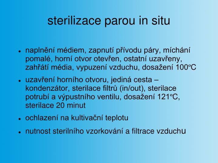 sterilizace parou in situ