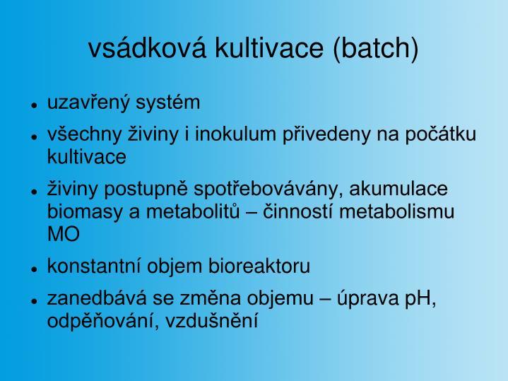 vsádková kultivace (batch)