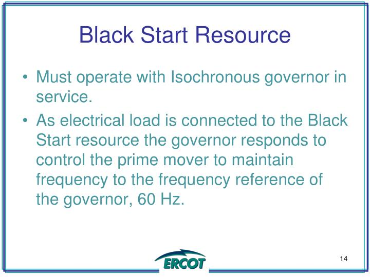 Black Start Resource