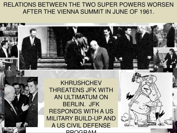 RELATIONS BETWEEN THE TWO SUPER POWERS WORSEN AFTER THE VIENNA SUMMIT IN JUNE OF 1961.