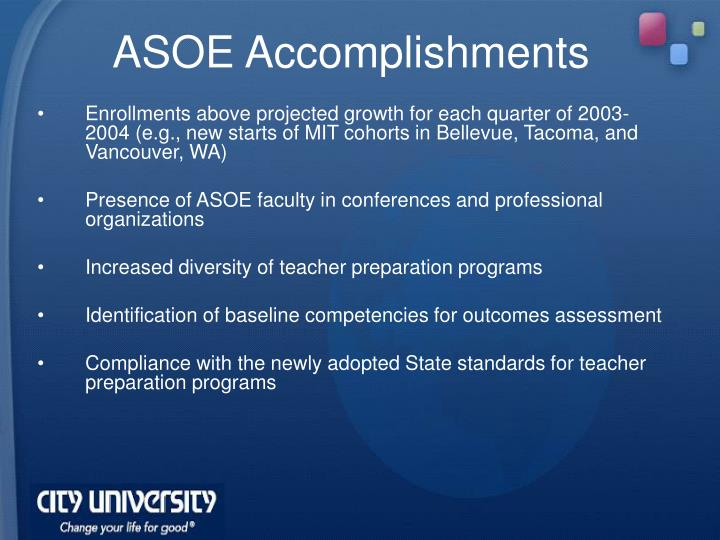 ASOE Accomplishments