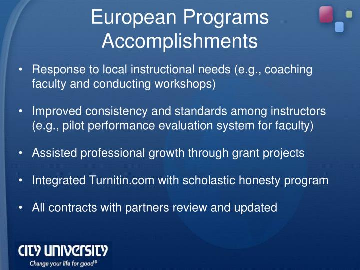 European Programs Accomplishments
