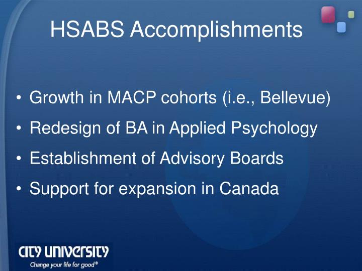 HSABS Accomplishments