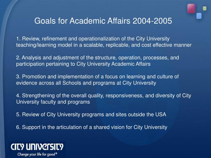 Goals for Academic Affairs 2004-2005