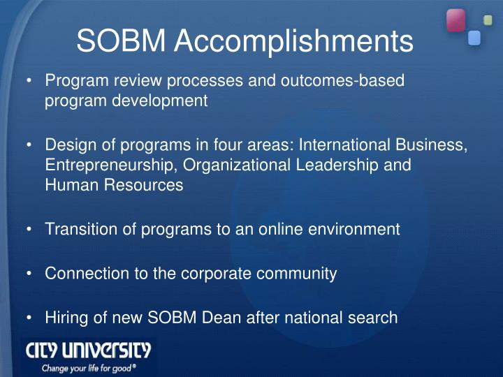 SOBM Accomplishments