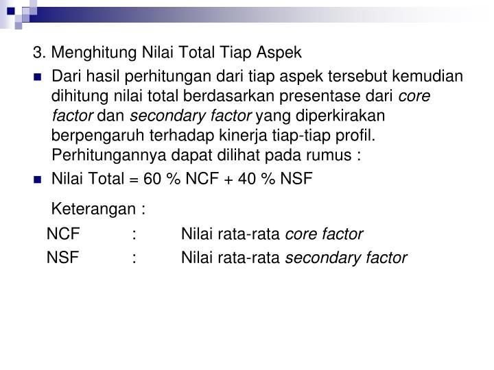 3. Menghitung Nilai Total Tiap Aspek