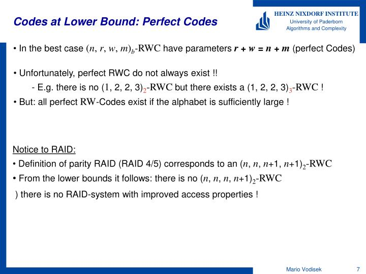 Codes at Lower Bound: Perfect Codes