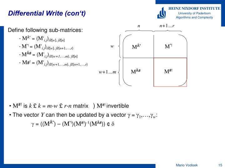 Differential Write (con't)