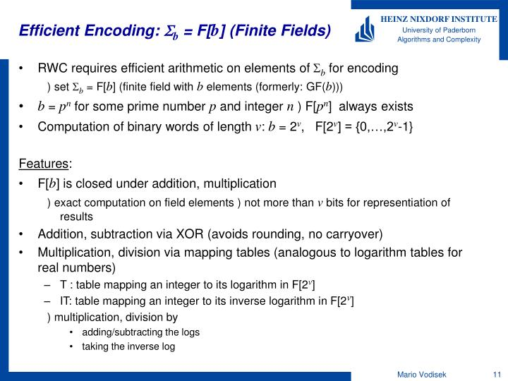 Efficient Encoding: