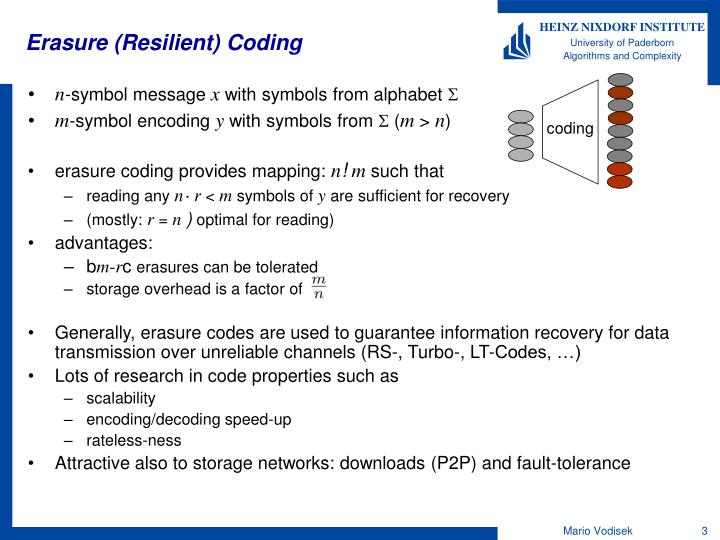 Erasure resilient coding