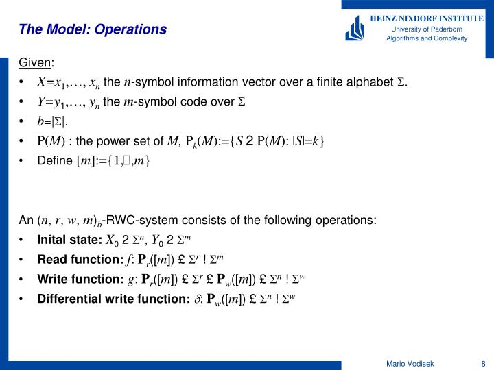 The Model: Operations