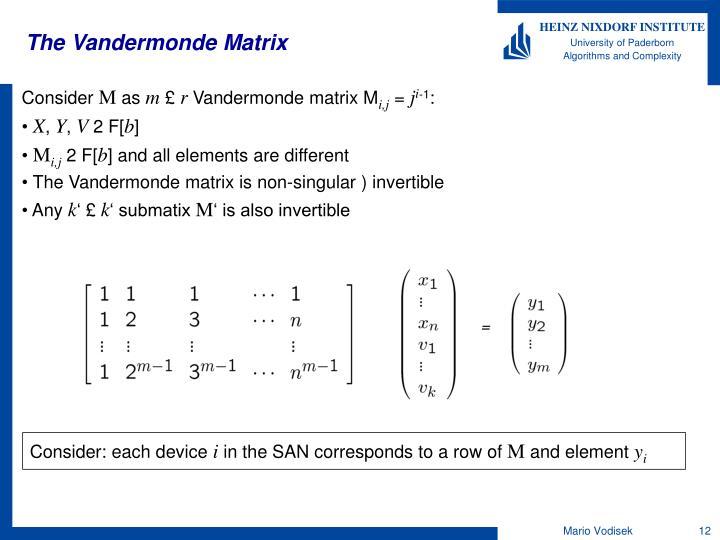 The Vandermonde Matrix