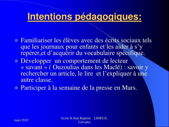 Intentions pédagogiques: