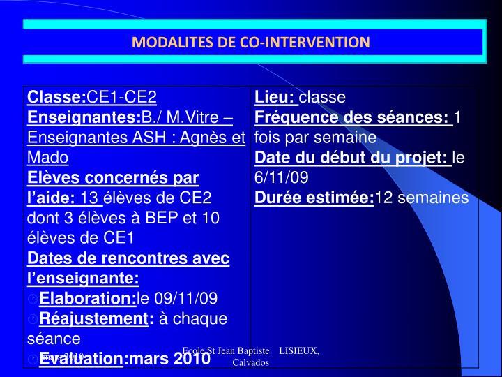MODALITES DE CO-INTERVENTION