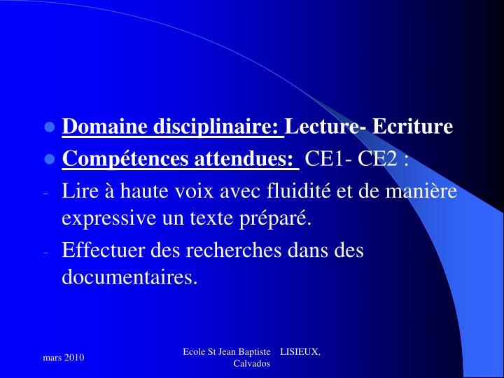Domaine disciplinaire: