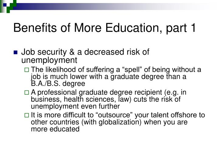 Benefits of More Education, part 1