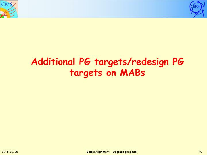 Additional PG targets/redesign PG targets on MABs