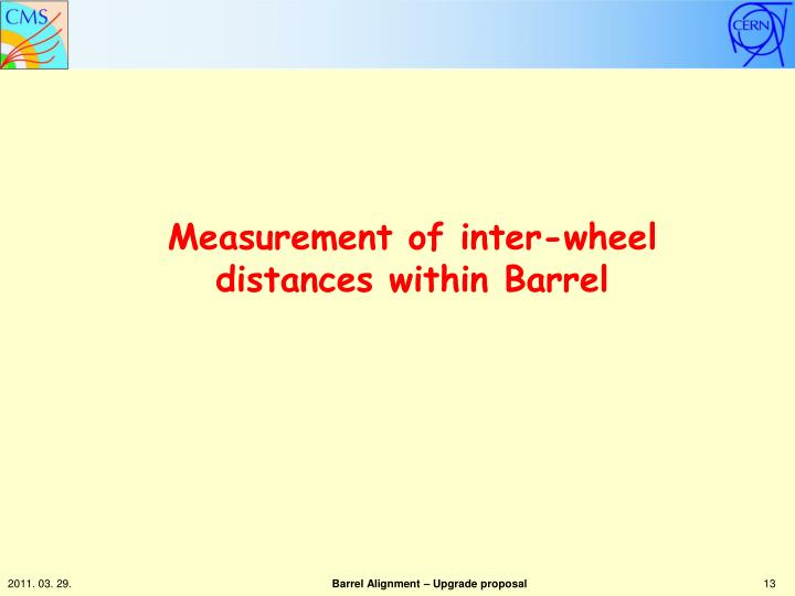 Measurement of inter-wheel distances within Barrel