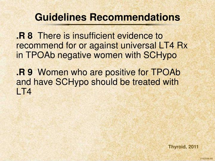 Guidelines Recommendations