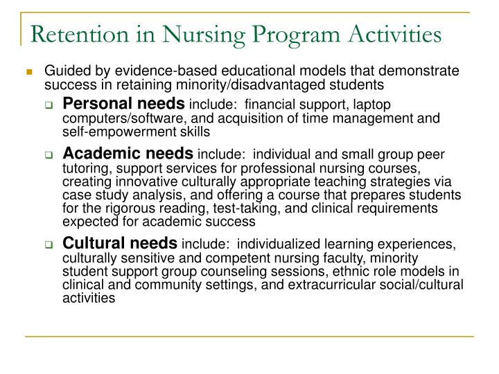 Retention in Nursing Program Activities