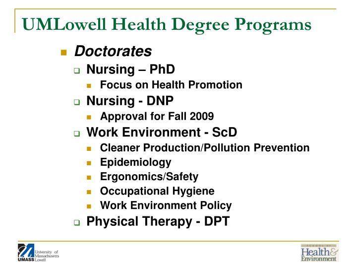 UMLowell Health Degree Programs