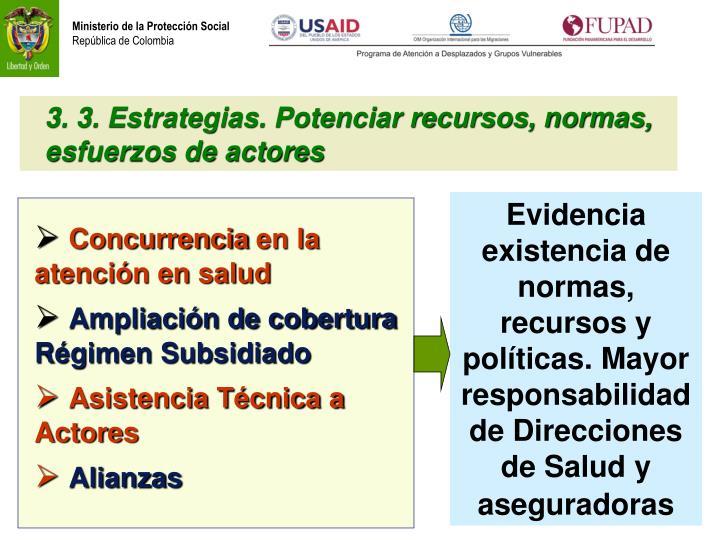 3. 3. Estrategias. Potenciar recursos, normas, esfuerzos de actores