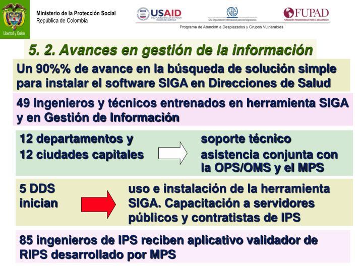 5. 2. Avances en gestión de la información