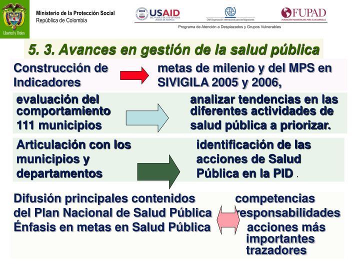 5. 3. Avances en gestión de la salud pública