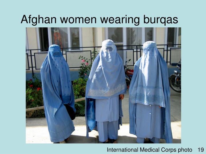 Afghan women wearing burqas
