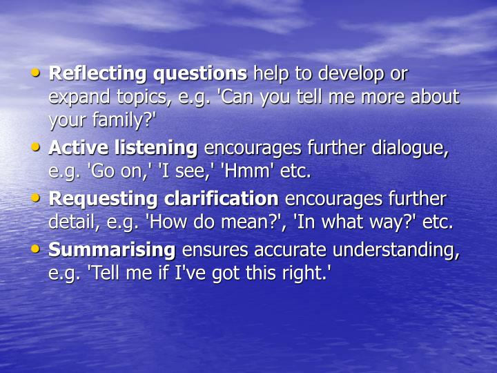 Reflecting questions