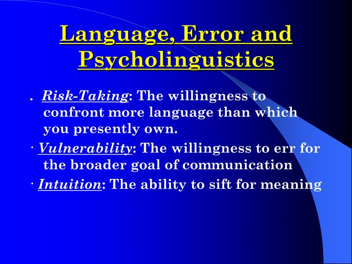 Language error and psycholinguistics