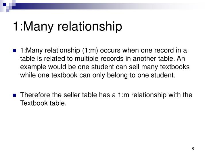 1:Many relationship
