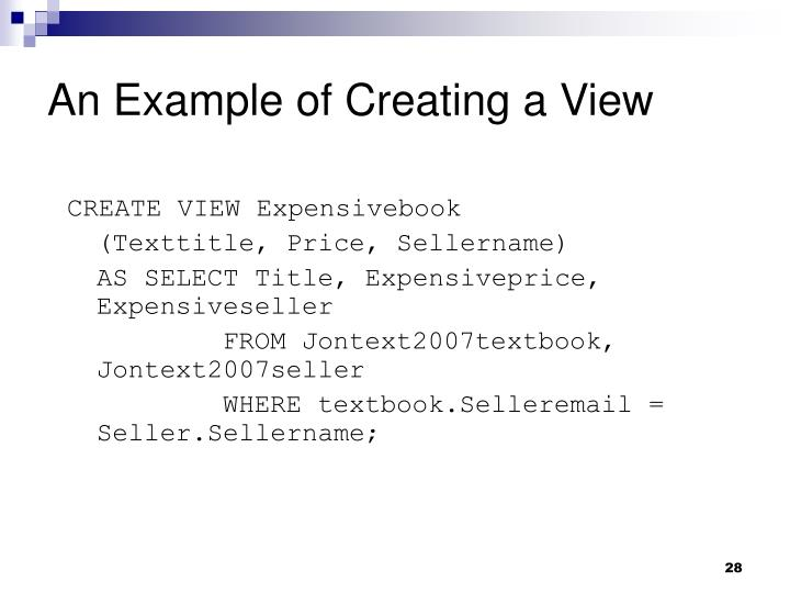 An Example of Creating a View