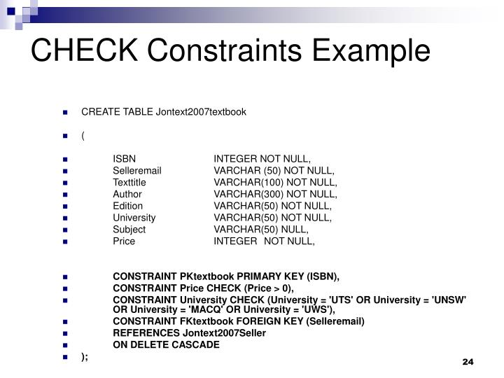CHECK Constraints Example