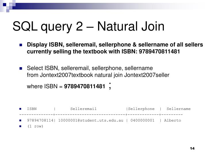 SQL query 2 – Natural Join