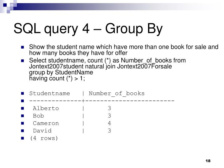 SQL query 4 – Group By