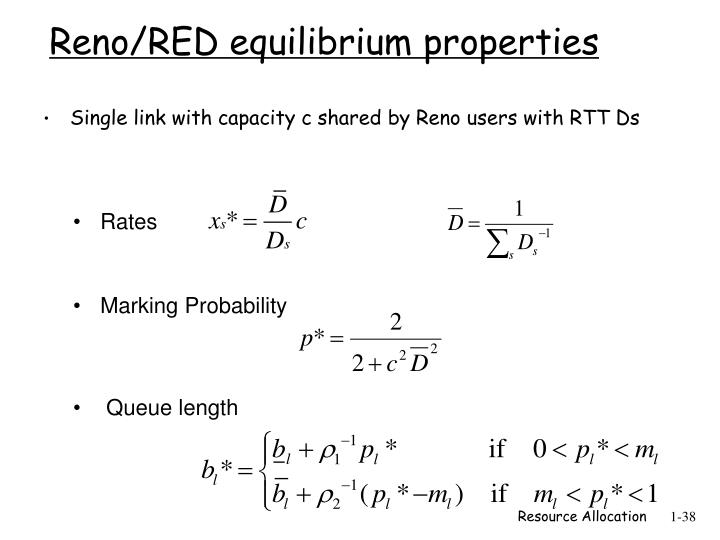 Reno/RED equilibrium properties