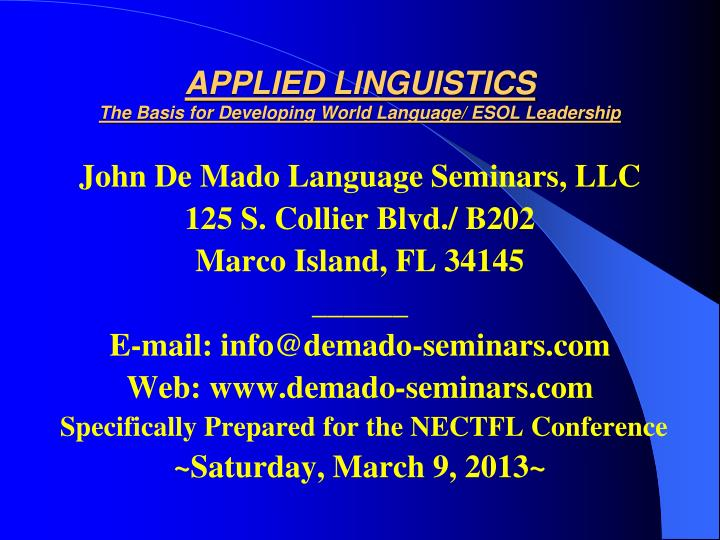 applied linguistics the basis for developing world language esol leadership n.