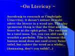 on ltericay