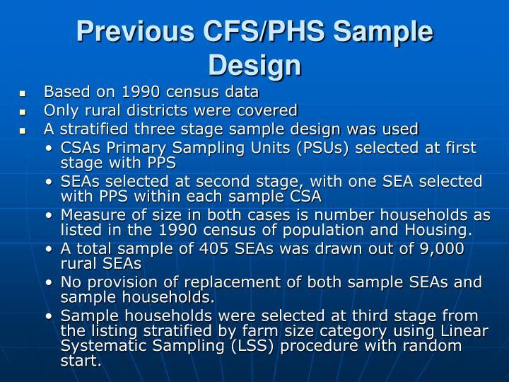 Previous CFS/PHS Sample Design