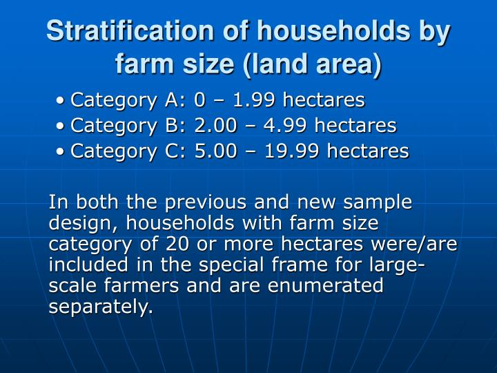 Stratification of households by farm size (land area)