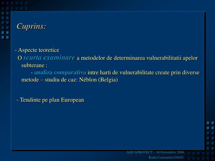 Cuprins: