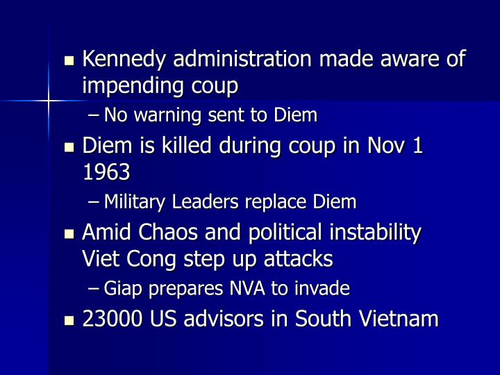 Kennedy administration made aware of impending coup