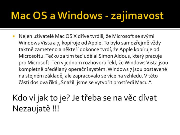 Mac OS a Windows -