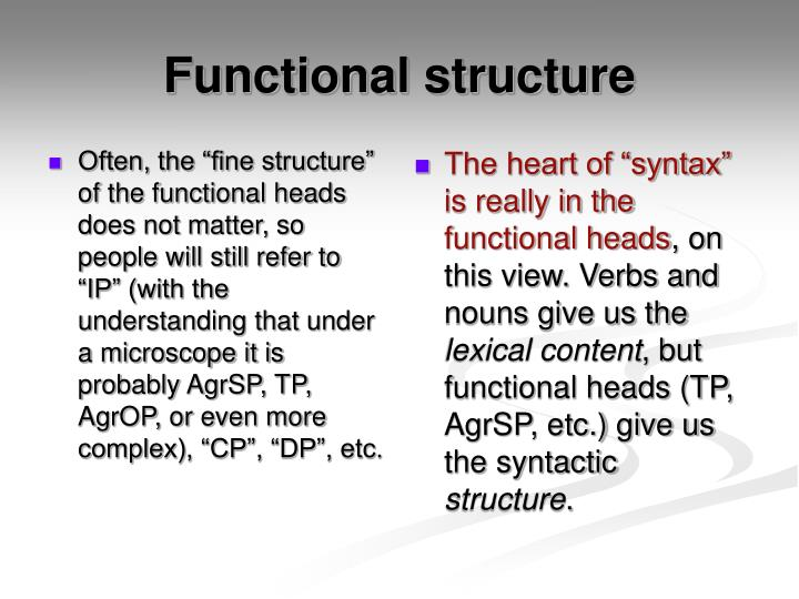 """Often, the """"fine structure"""" of the functional heads does not matter, so people will still refer to """"IP"""" (with the understanding that under a microscope it is probably AgrSP, TP, AgrOP, or even more complex), """"CP"""", """"DP"""", etc."""