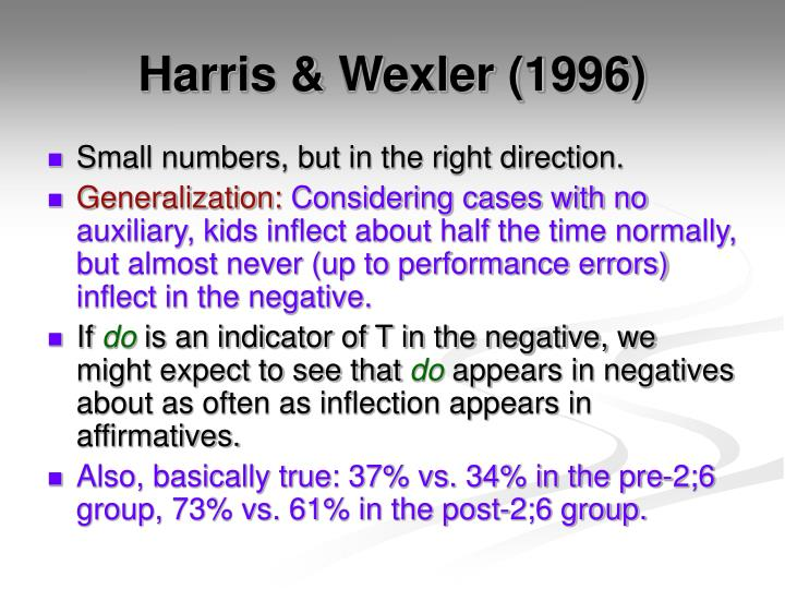 Harris & Wexler (1996)