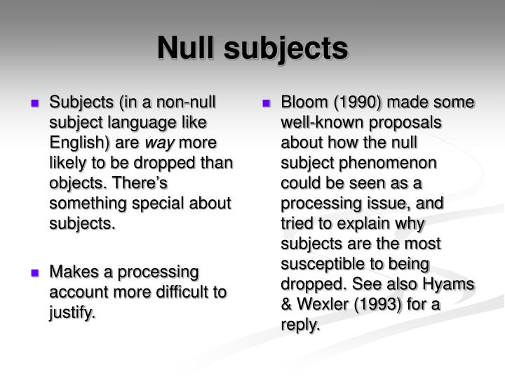 Subjects (in a non-null subject language like English) are