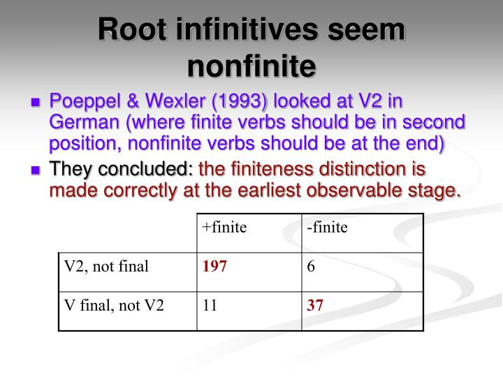 Root infinitives seem nonfinite